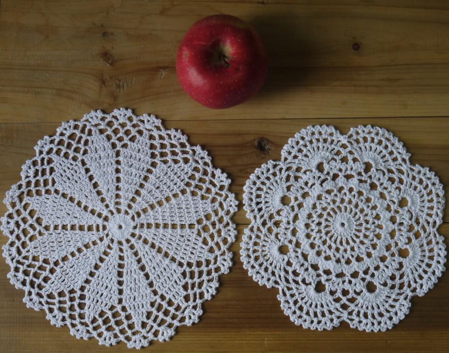 Atacado 100% algodão feito à mão crochet doily toalha de mesa, 2 projetos de 11 cores personalizadas, copo mat rodada 20-21 cm applique de crochê