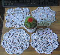 Wholesale Make Table Mats - wholesale 100% cotton hand made crochet doily table cloth , 4 designs 11 colors custom , cup mat round 19-21cm crochet applique 24PCS LOT