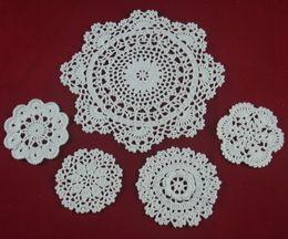 $enCountryForm.capitalKeyWord NZ - wholesale 100% cotton hand made crochet doily table cloth , 5 designs 11 colors custom , cup mat round 10-21cm crochet applique 25PCS LOT
