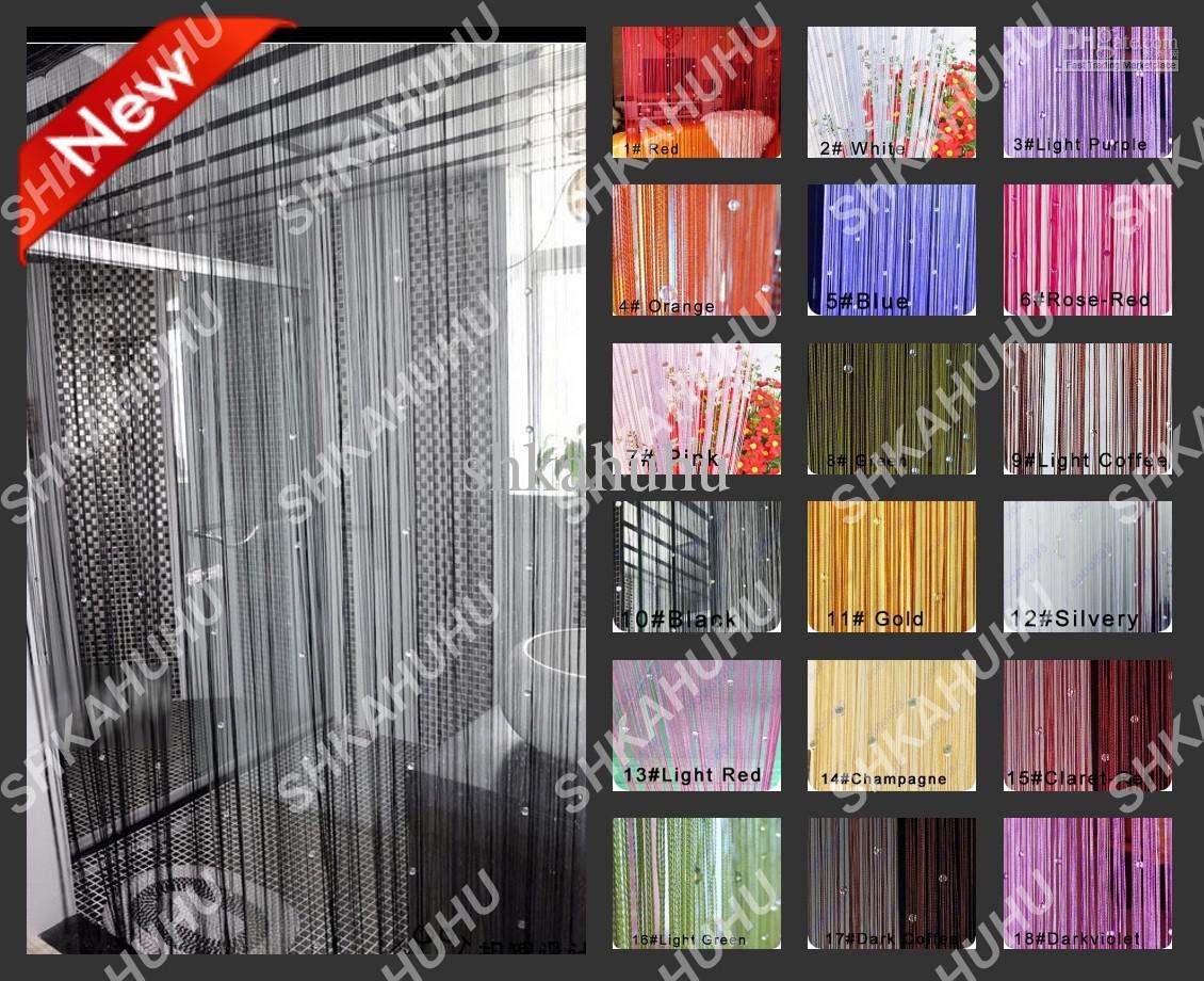 NEW 19 Color Door Window Panel Room Divider Embellish Crystal Bead String  Curtain Width-100CM*Length-300CM (35.5''*110'') Rod sleeve3 - New Door Window Panel Room Divider Embellish Crystal Bead String