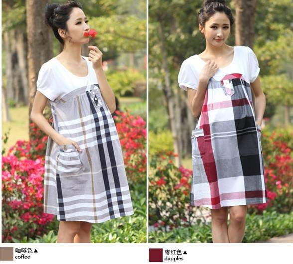 87b066a6c312d cotton plaid maternity dress pregnancy women short sleeve dress mommy  clothing fashion wears