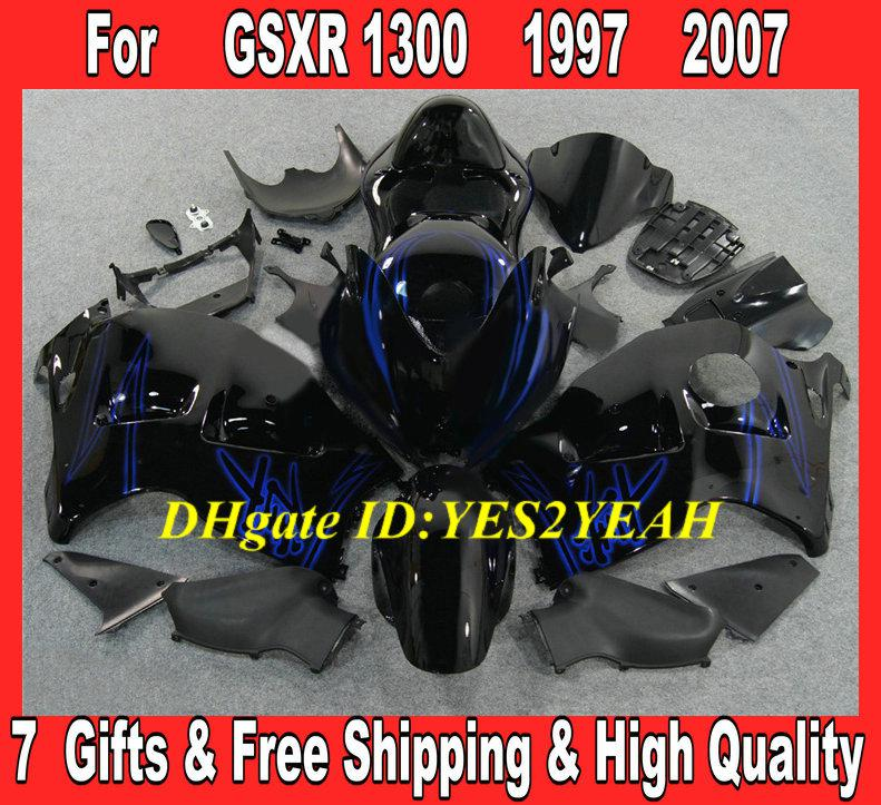 Injectieballen Carrosserie voor 1996 2007 Hayabusa GSXR1300 GSX R1300 96 00 01 07 GSXR 1300 Blue Gloss Black Fairing Body Kit