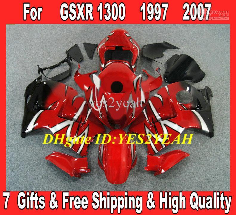 Kit carrosserie carénage injecté pour 1996 2007 Hayabusa GSXR1300 GSX R1300 96 00 01 07 GSXR 1300 rouge noir Carrosserie SDing