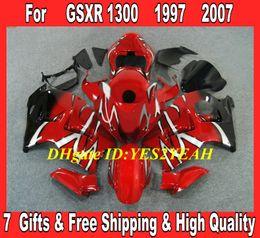 hayabusa negro carenados rojos Rebajas Kit cuerpo carenado inyección 1996 1996 Hayabusa GSXR1300 GSX R1300 96 00 01 07 GSXR 1300 carenado carenado negro negro SD21