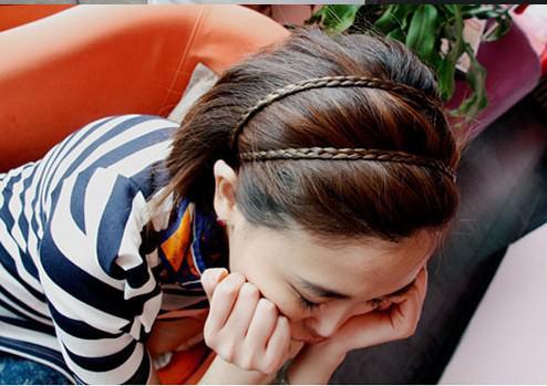 Livraison Gratuite Bandeau de cheveux Bandeau de cheveux Bandeau de tête Plaid Braid Pigtail Extensions de cheveux Couleurs