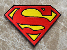Wholesale Wholesale Applique Transfers - Free Shipping ~ cloth Heat Transfer Superman Super man Embroidered Brands logo DIY Iron-on Sew On Patch Applique Badge