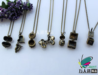 Wholesale Assorted Necklace Designs - Wish Box Necklaces(Assorted Designs)glass perfume bottle pendant Aromatherapy lockets
