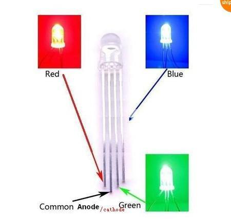 свободная перевозка груза предварительно Проводная водить, 5 мм RGB LED, 20см проволока, 12v напряжение, 5мм диффундирует общий анод / катод привели