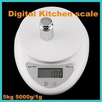 Wholesale Electronic Kitchen Postal Scales - freeshipping Brand new 5000g 1g 5kg Food Diet Postal Kitchen Digital Scale scales balance weight weighting LED electronic WH-B05