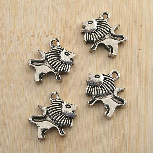 Ciondolo leone in argento anticato 26 pezzi con due lati G1449
