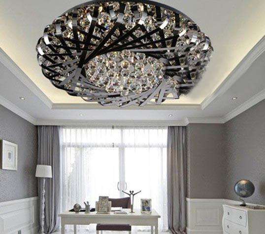 Post Modern Classic Fashion Stainless Steel Nest K9 Crystal Ceiling Light Chandelier Living Room Lamp Remote Control Girls For