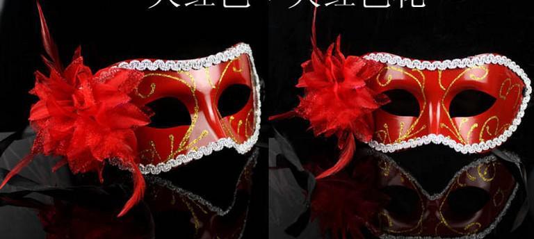 Luxe vrouwen sexy hallowmas Venetiaanse half masker maskerade maskers bloem veer masker dance party theater prop bal bruiloft feestelijke masker
