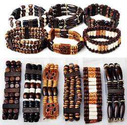 Wholesale Strand Link - 40% OFF~! Bracelets Jewelry Mix Lot 36pcs Wood Beads Bracelets Fashion Charm Bracelet Jewelry Adjustable free [B413M*36]