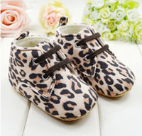 Wholesale 1year Baby Girls Shoes - Fashion Leopard grain Lace-Up 0-1Year Infant boys girls shoes Baby First Walker Shoes Toddler prewalker 11-12-13 3pair lot QS120