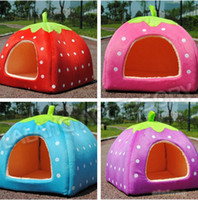 Wholesale Strawberry Baskets - 1piece lot S M L size New Arrival Cute Soft Strawberry Pet Dog Cat Bed House Kennel Doggy Warm Cushion Basket For Pet 650548