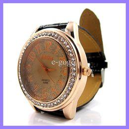 Wholesale Diamante Watches - IBELI Ladies Rose Gold Diamante Crystal Bling Quartz Watch PU Leather Fashion Wrist Watches
