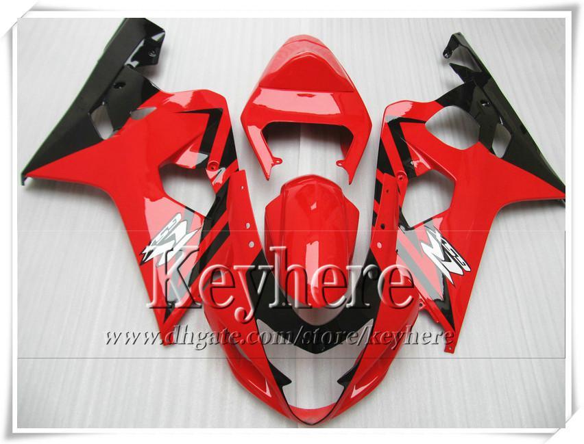Kit de carénage personnalisé gratuit 7 cadeaux pour SUZUKI GSXR 600 750 04 05 GSXR600 R750 2004 2005 carénages K4 GSXR600 r4a vente chaude rouge moto noire