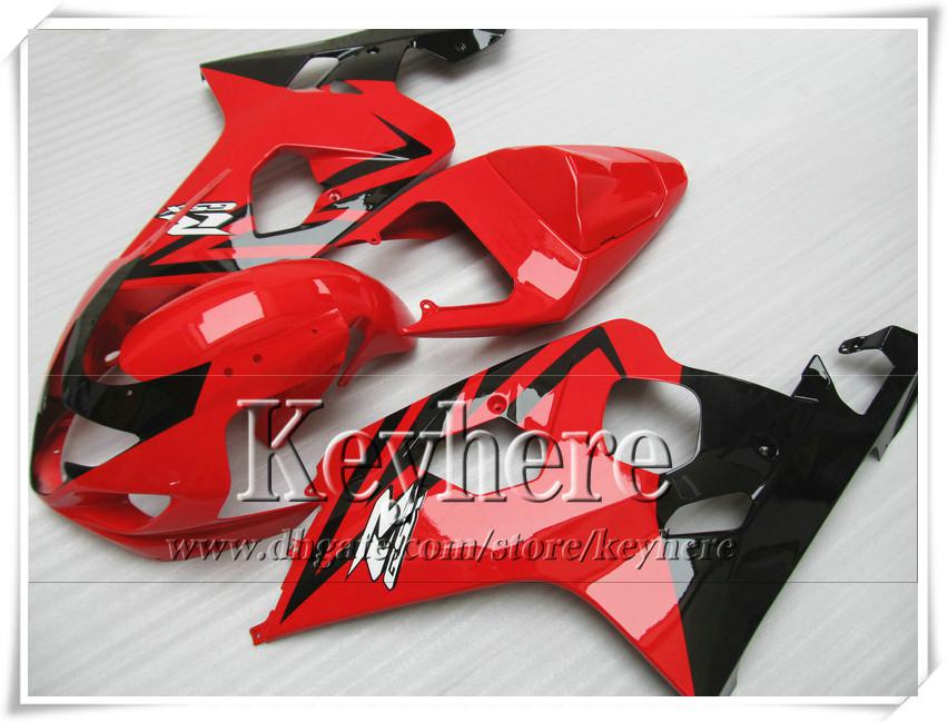 Kit carenatura personalizzata di 7 regali SUZUKI GSXR 600 750 04 05 GSXR600 R750 2004 2005 Carene GS4R600 K4 r4a vendita calda moto nera rossa