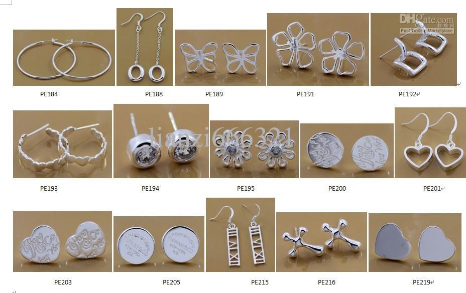 Moda Fabricante de Jóias misturado muito brincos de prata esterlina 925 jóias preço de fábrica Moda