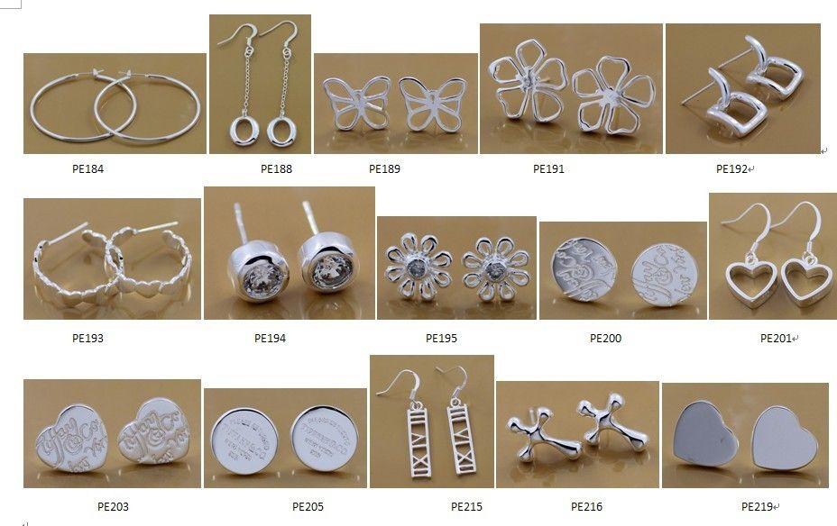 Mode fabricant de bijoux mélangé beaucoup boucles d'oreilles 925 bijoux en argent sterling prix usine mode