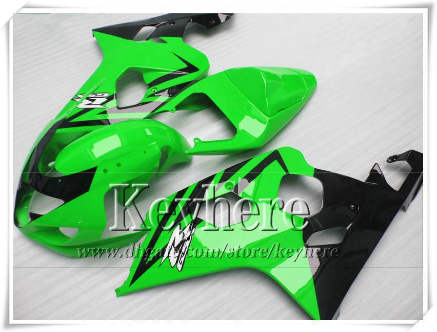 Kit carenatura personalizzata di 7 regali SUZUKI GSXR 600 750 04 05 GSXR600 R750 2004 2005 Parti di moto K4 GSXR600 r6a verde nero