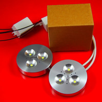 12v led açık beyaz toptan satış-Toptan Satış - Dim 3X3W Yuvarlak Beyaz Led Puck Işık, Led Kabine Aşağı Aydınlatma