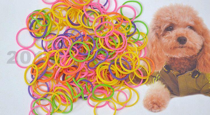 Gratis verzending !! 100 stks / 1 bag / 1lot! Kleurrijke huisdier schoonheid benodigdheden huisdier hond verzorgen rubber band huisdier haarproduct