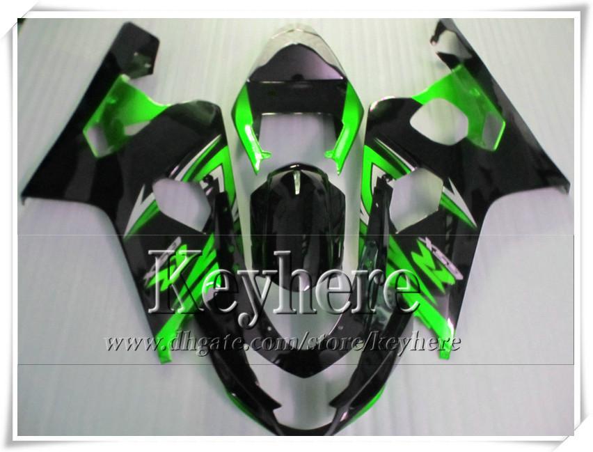 Kit de carénage gratuit 7 cadeaux pour SUZUKI GSXR 600 750 04 05 GSXR600 R750 2004 2005 carénages K4 GSXR600 pièces de moto vert noir r2c