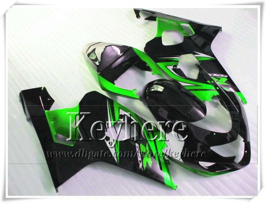 SUZUKI GSXR 600 750 04 05 GSXR600 R750 2004 2005 용 KF GSXR600 페어링 r2c 녹색 검정 오토바이 부품 무료 7 선물 맞춤형 페어링 키트