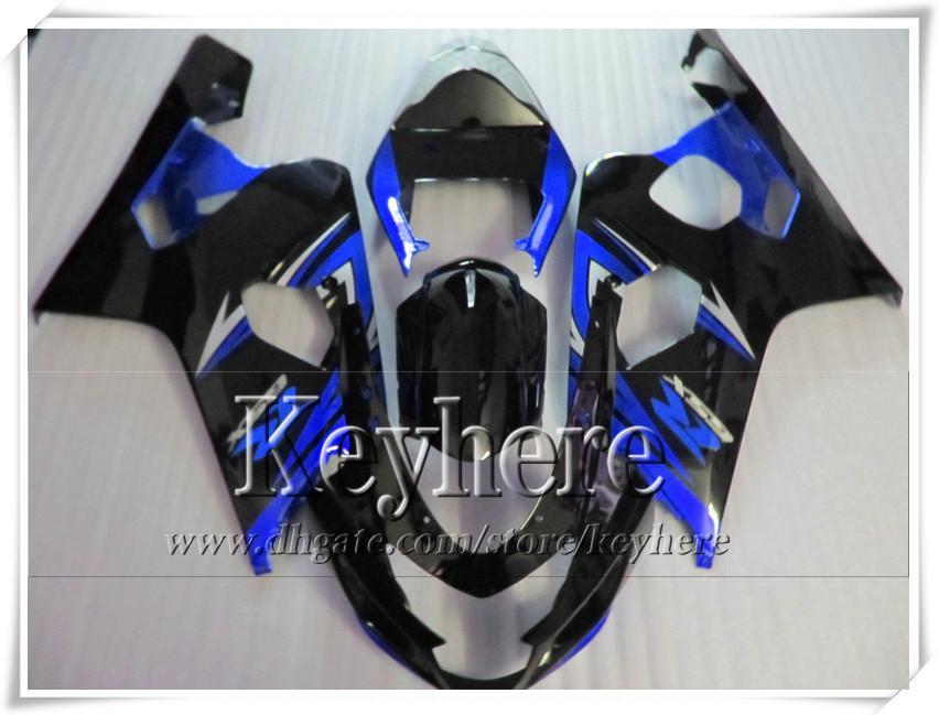 Grátis 7 presentes kit de carenagem personalizada para SUZUKI GSXR 600 750 04 05 GSXR600 R750 2004 2005 K4 GSXR600 carenagens r4c novas peças da motocicleta azul preto