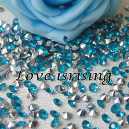 Wholesale Teal Blue Party Decorations - 30% Off-1000pcs 4.5mm Light Teal Blue With Silver Plated Diamond Confetti Acrylic Bead For Wedding Party Decoration New Arrivals