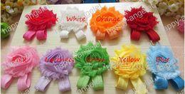 Wholesale Shabby Headband Foot Flower - Free shipping! 30pcs (2.5 inch Shabby Chiffon Feet Flower with shimmer Shinny Headband ) Baby Girl's Foot Accessories 9 colors