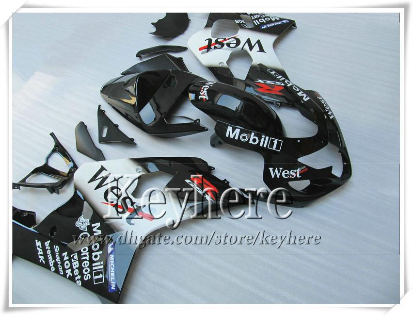 Kit carenatura personalizzata da 7 regali SUZUKI GSXR 600 750 04 05 GSXR600 R750 2004 2005 Carene GS4R600 K4 r9c nuove parti moto WEST nere