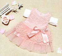 Wholesale Dress Chidren - Korean Children Girls Pure Cotton Lace Princess Tank Dresses Chidren Girl Lace Floral Printed Bowknot Chiffon Sleeveless Dress Sundress 2666