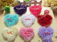 Wholesale Heart Shabby Flower Wholesale - free shipping 30 pcs 3inch Baby Shabby Frayed Chiffon Heart Love Rose Flowers Soft silk without hairclip 8 colors