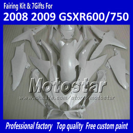 Chinese  100% Injection molding fairings GSXR 600 750 2008 2009 2010 K8 GSXR600 GSXR750 08 09 10 all glossy white accept custom paint job manufacturers