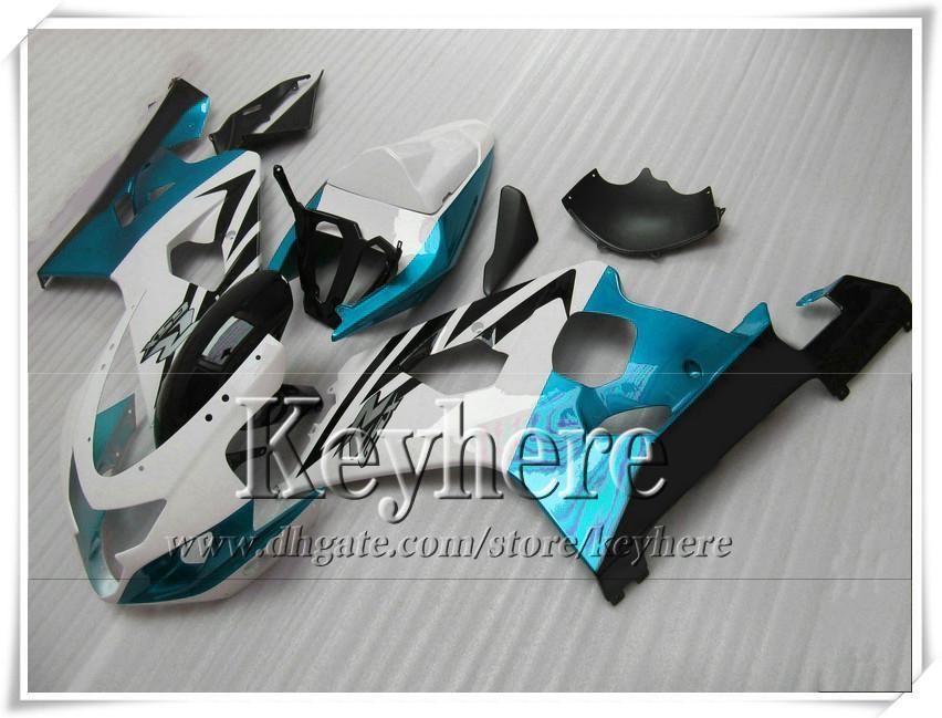 Kit de carenado personalizado 7 regalos gratis para SUZUKI GSXR 600 750 04 05 GSXR600 R750 2004 2005 K4 GSXR600 carenados r5h nueva motocicleta blanca azul claro