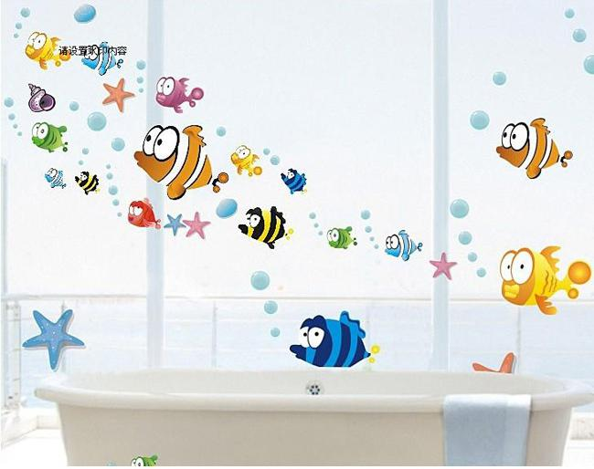 Fish Wall Sticker Part   32: Free Shipping Mixed Ordered Popular Colorful  Ocean Fish Wall Part 14