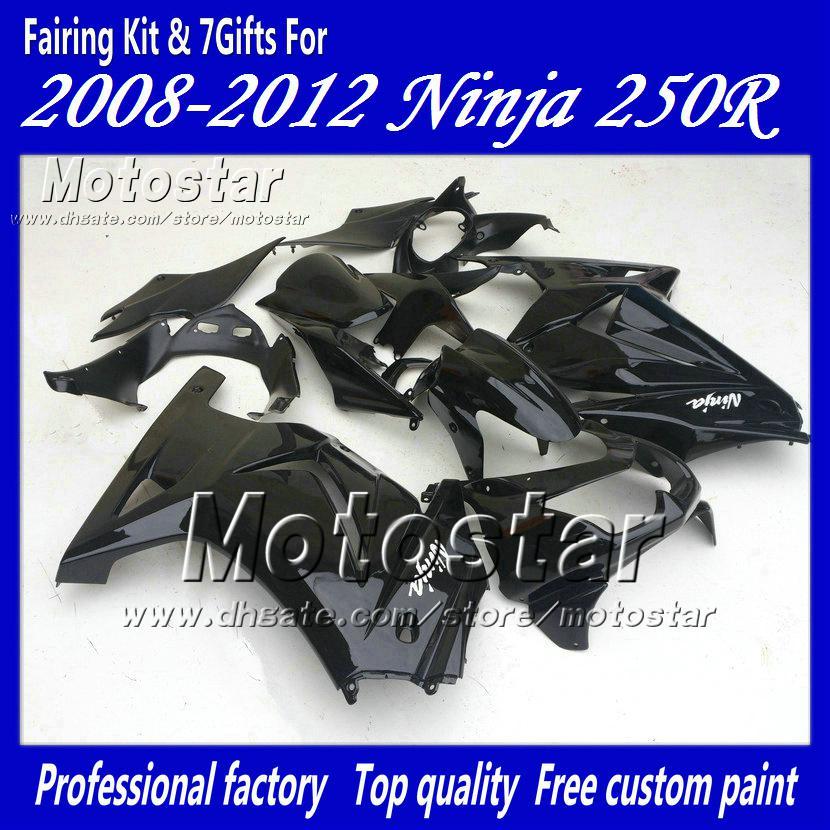 7 Gifts fairings kit for Kawasaki Ninja 250R ZX250R ZX 250 2008 2009 2010  2011 2012 EX250 08-12 all glossy black fairing set