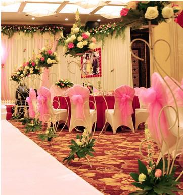 Happy Married Wedding Decorations Tulle Chair Flower Snow crystal yarn background gauze curtain stair armrest wedding celebration supplies