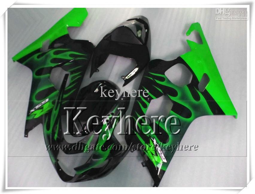 Kit de carenagem personalizado de 7 presentes grátis para SUZUKI GSXR 600 750 04 05 GSXR600 R750 2004 2005 Carenagens de K4 GSXR600 r8h chamas verdes em kit de corpo preto