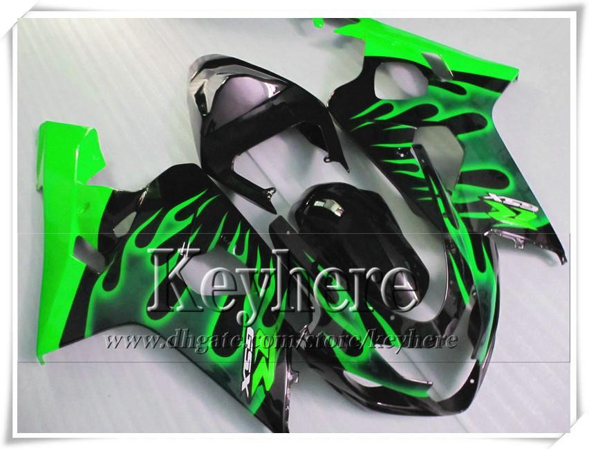 Kit carenatura personalizzata di 7 regali SUZUKI GSXR 600 750 04 05 GSXR600 R750 2004 2005 Carene GS4R600 K4 r8h fiamme verdi in kit corpo nero