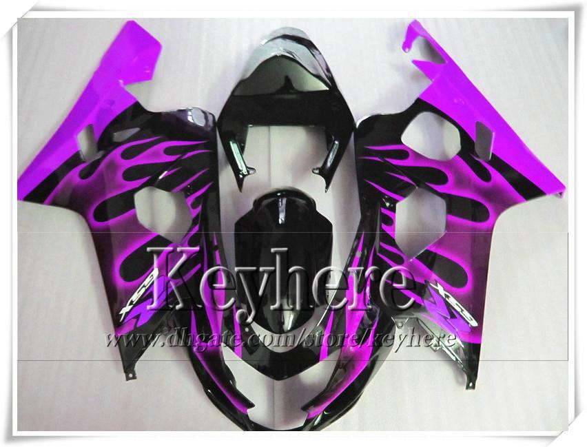Kit carenatura personalizzata di 7 regali SUZUKI GSXR 600 750 04 05 GSXR600 R750 2004 2005 Carene GS4R600 K4 r1j fiamme viola in kit corpo nero