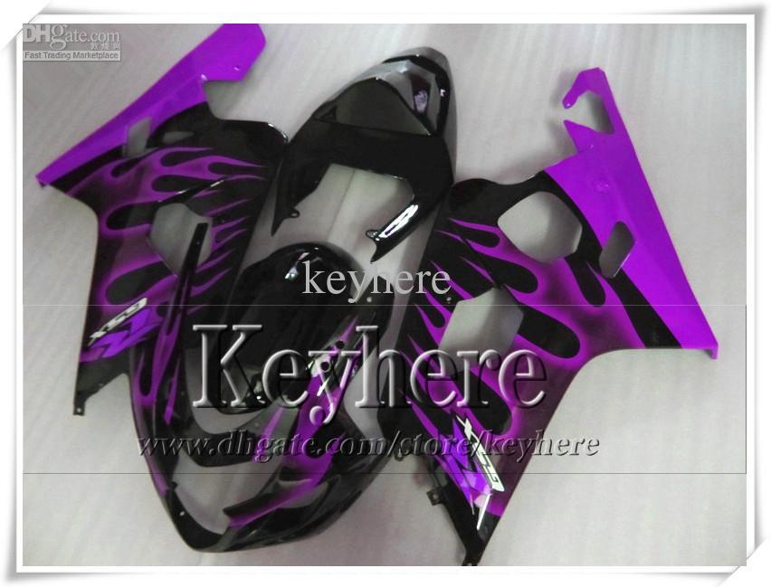 Kit de carenagem personalizado de 7 presentes grátis para SUZUKI GSXR 600 750 04 05 GSXR600 R750 2004 2005 K4 GSXR600 carenagens r1j chamas roxas em kit de corpo preto