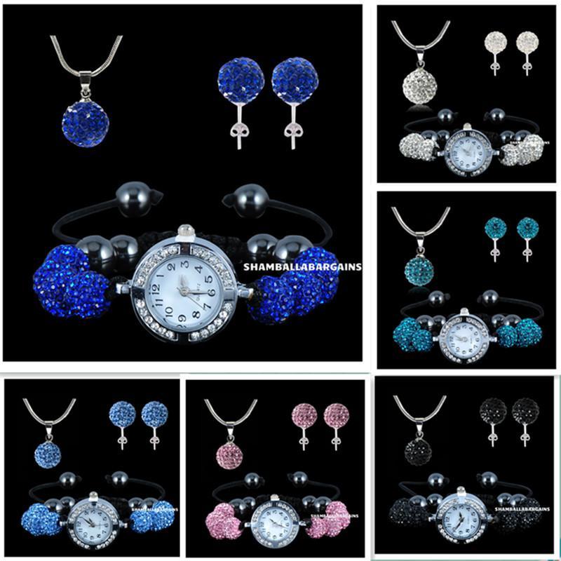 925 argent 10mm Shambhala perles ensemble de bijoux de style chaud Micro Pave Disco cristal boule collier stud montre / / / /