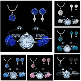 Discount peacock ball - 925 silver 10mm Shambhala beads jewelry set hot style Micro Pave Disco Crystal Ball Necklace & stud & watch 1set 5sets 1