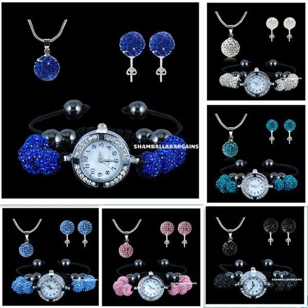 top popular 925 silver 10mm Shambhala beads jewelry set hot style Micro Pave Disco Crystal Ball Necklace & stud & watch 1set 5sets 10sets 15sets 45set 2020