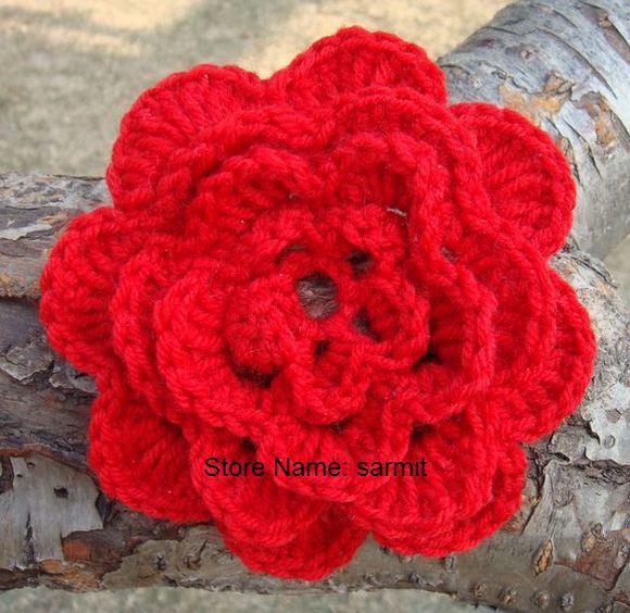 50 pçs / lote 4.5-5.5 '' handmade diy flores de crochê apliques de costura de arcos artificiais frete grátis crochet grande headband flores