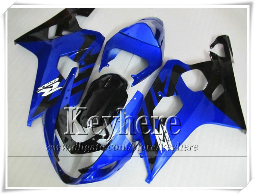 Kit de carénage personnalisé gratuit 7 cadeaux pour SUZUKI GSXR 600 750 04 05 GSXR600 R750 2004 2005 K4 GSXR600 carénages r3n kit de corps bleu noir vente chaude