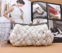 Wholesale Braided Handbag - Free Shipping New Style Fashion Unique Braid Handbag Wedding Bridal Accessory Prom Party Evening Clutch Handbag